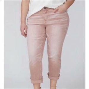 NWT Lane Bryant Dust Pink Girlfriend Crop Jeans 26